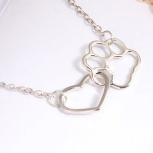 SeriBella Designs Jewelry - Heart Love & Dog Paw Silver Necklace